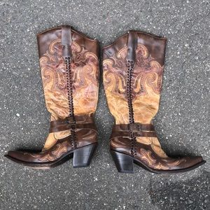 Corral tan and brown braided cowboy boots size 10